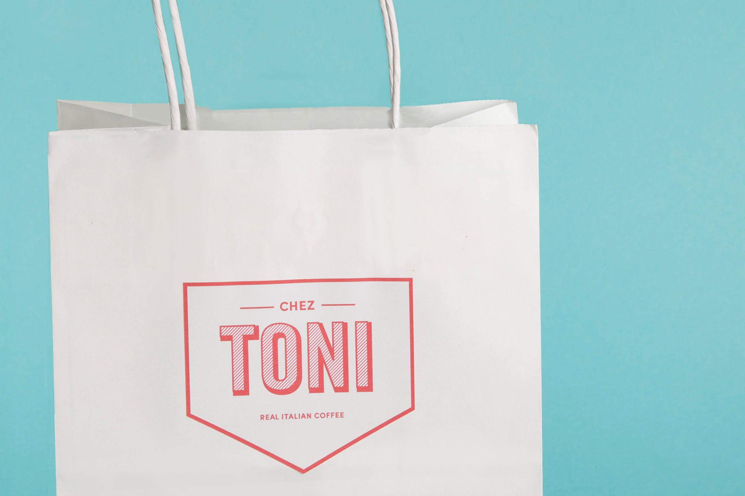 chez toni, speisekarte, vodafone, vodafone campus, düsseldorf, restaurant branding, tüte