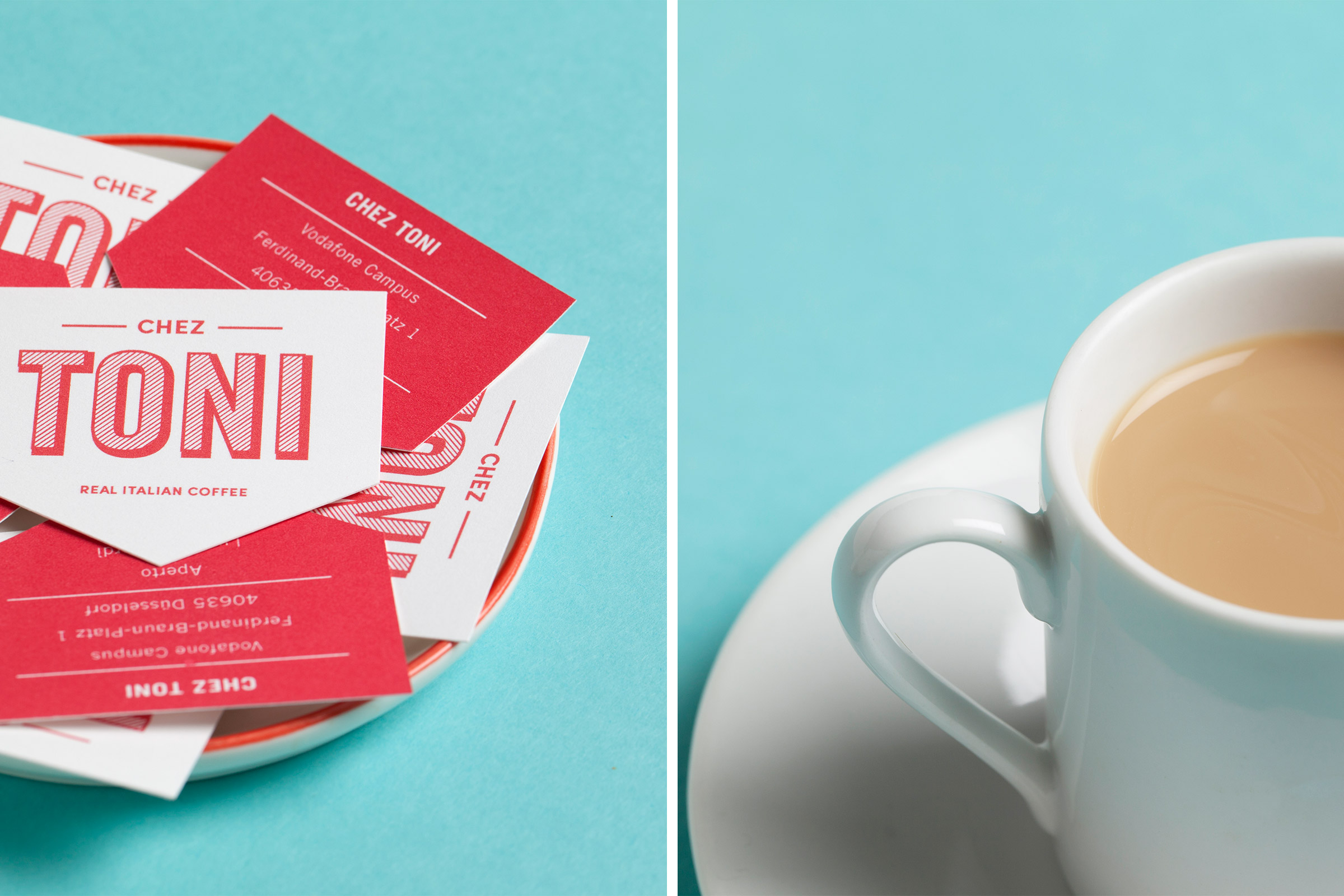 chez toni, speisekarte, vodafone, vodafone campus, düsseldorf, restaurant branding, kaffee