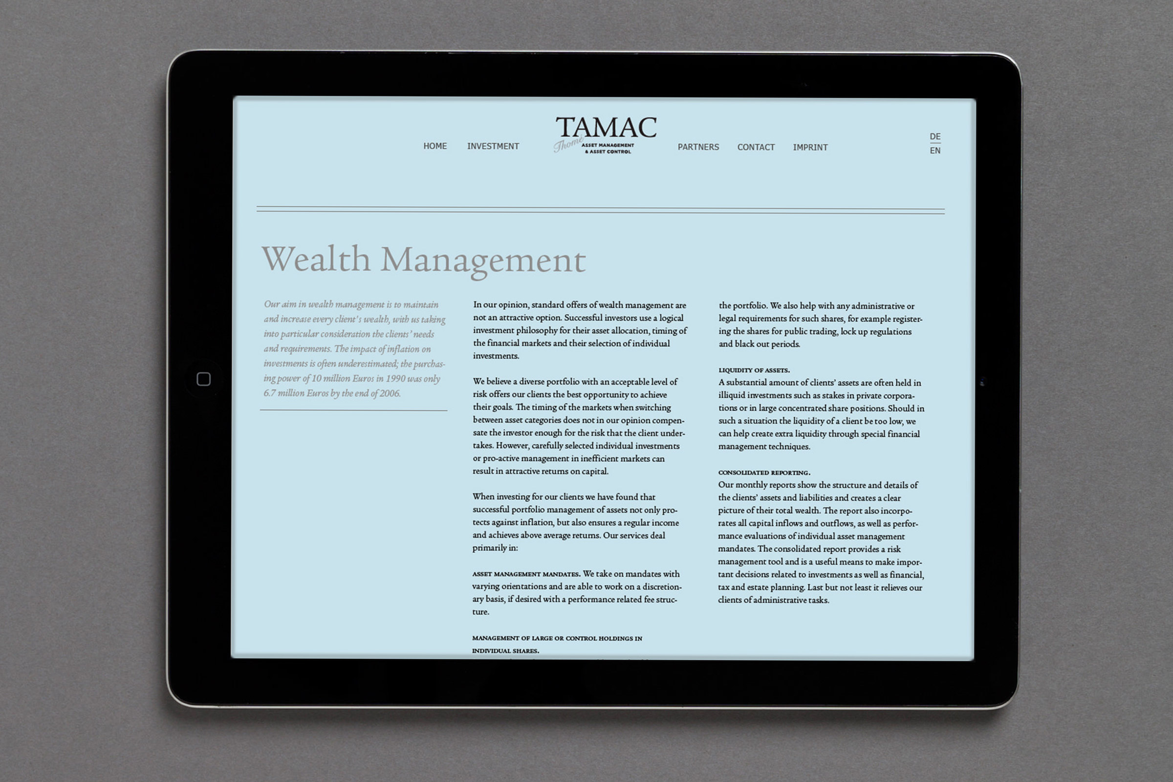 private wealth management, familienvermögen, website, ipad, london