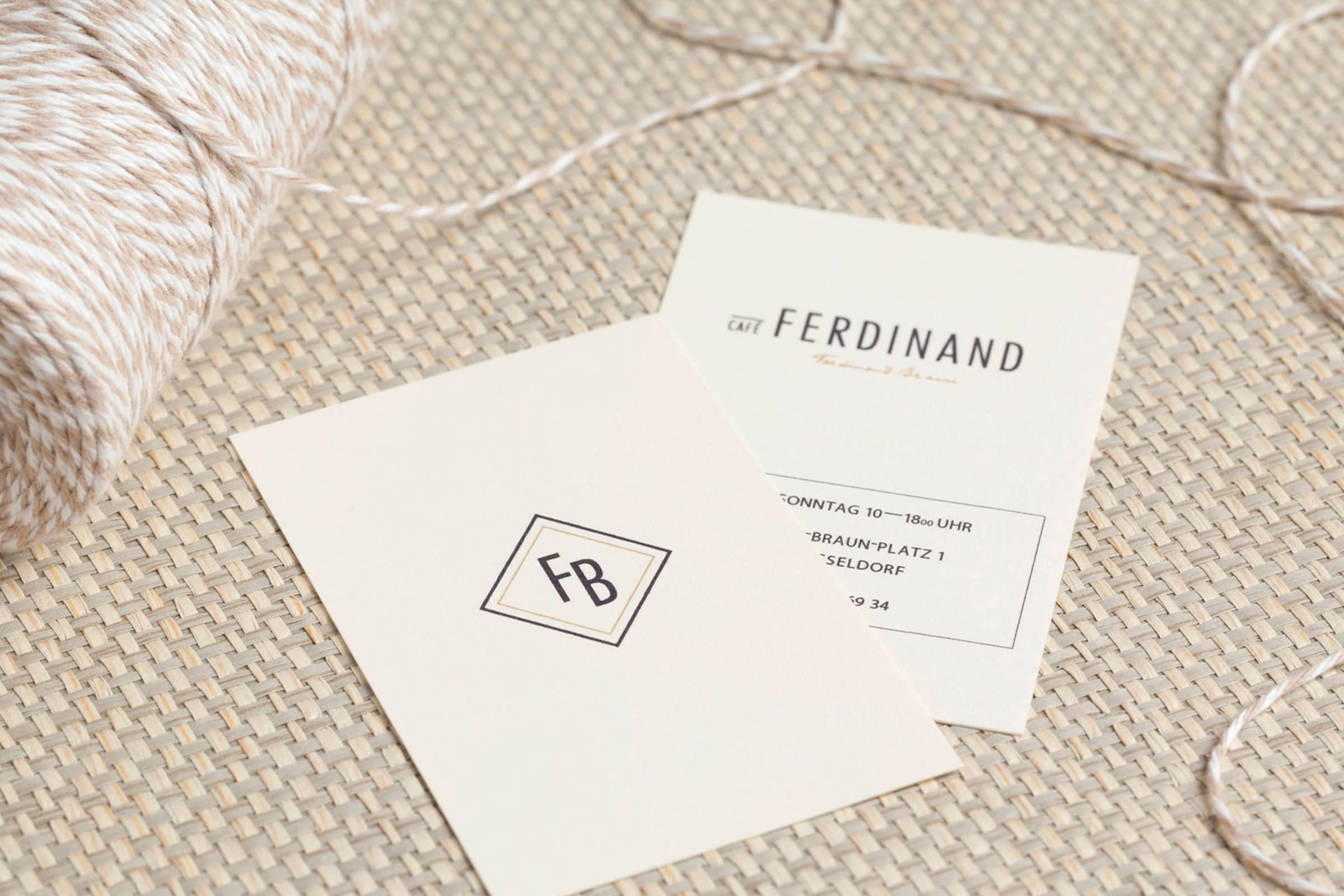 Cafè Ferdinand, Vodafone, Hamburg, Jungfernstieg, Packaging, Restaurant Branding, Visitenkarte