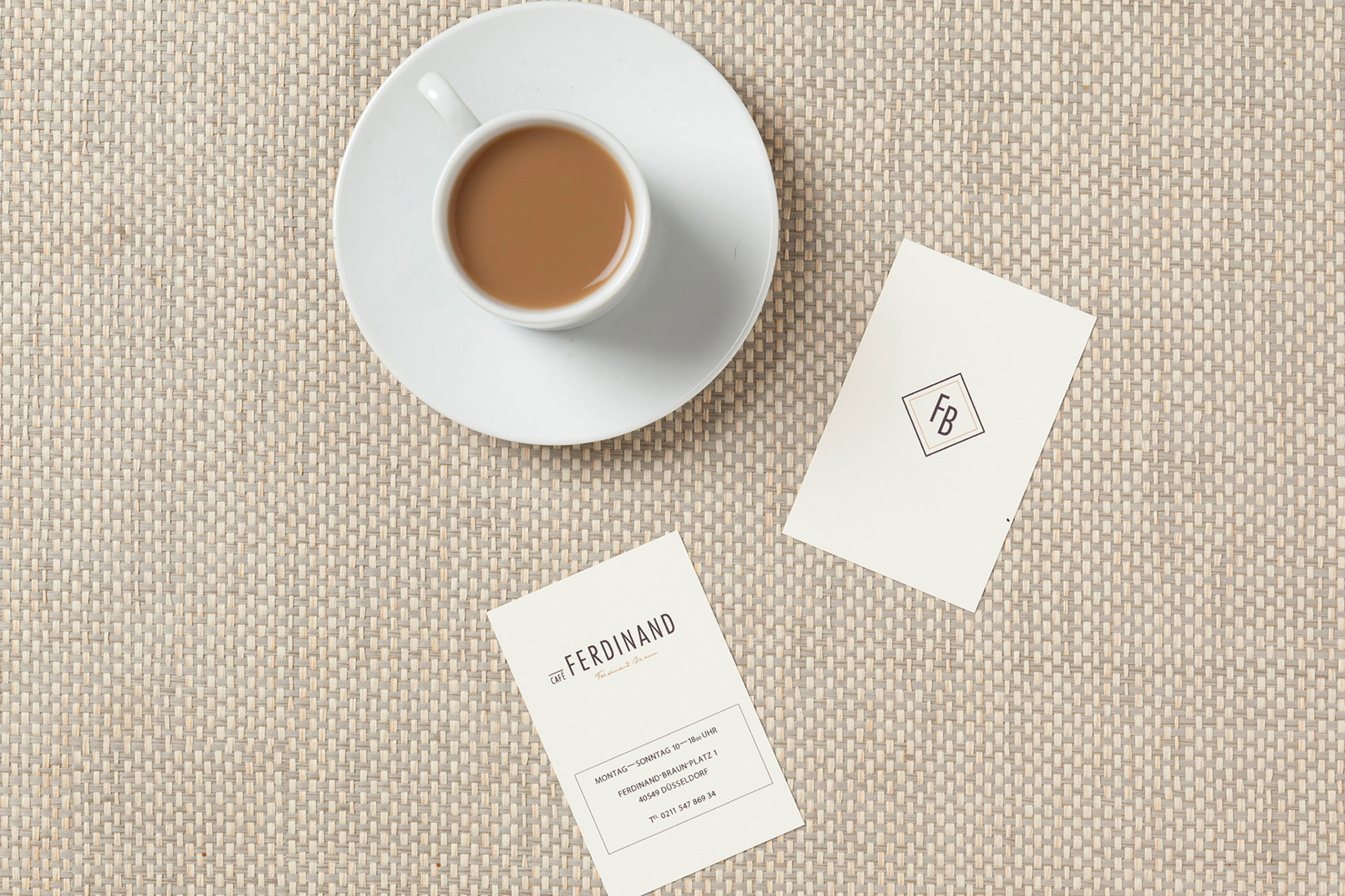 Cafè Ferdinand, Vodafone, Hamburg, Jungfernstieg, Visitenkarten, Restaurant Branding, Kaffee