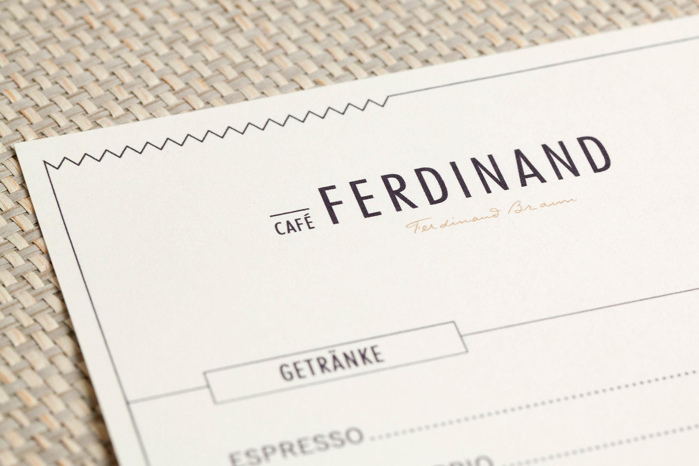 Cafè Ferdinand, Vodafone, Hamburg, Jungfernstieg, Packaging, Restaurant Branding, Speisekarte
