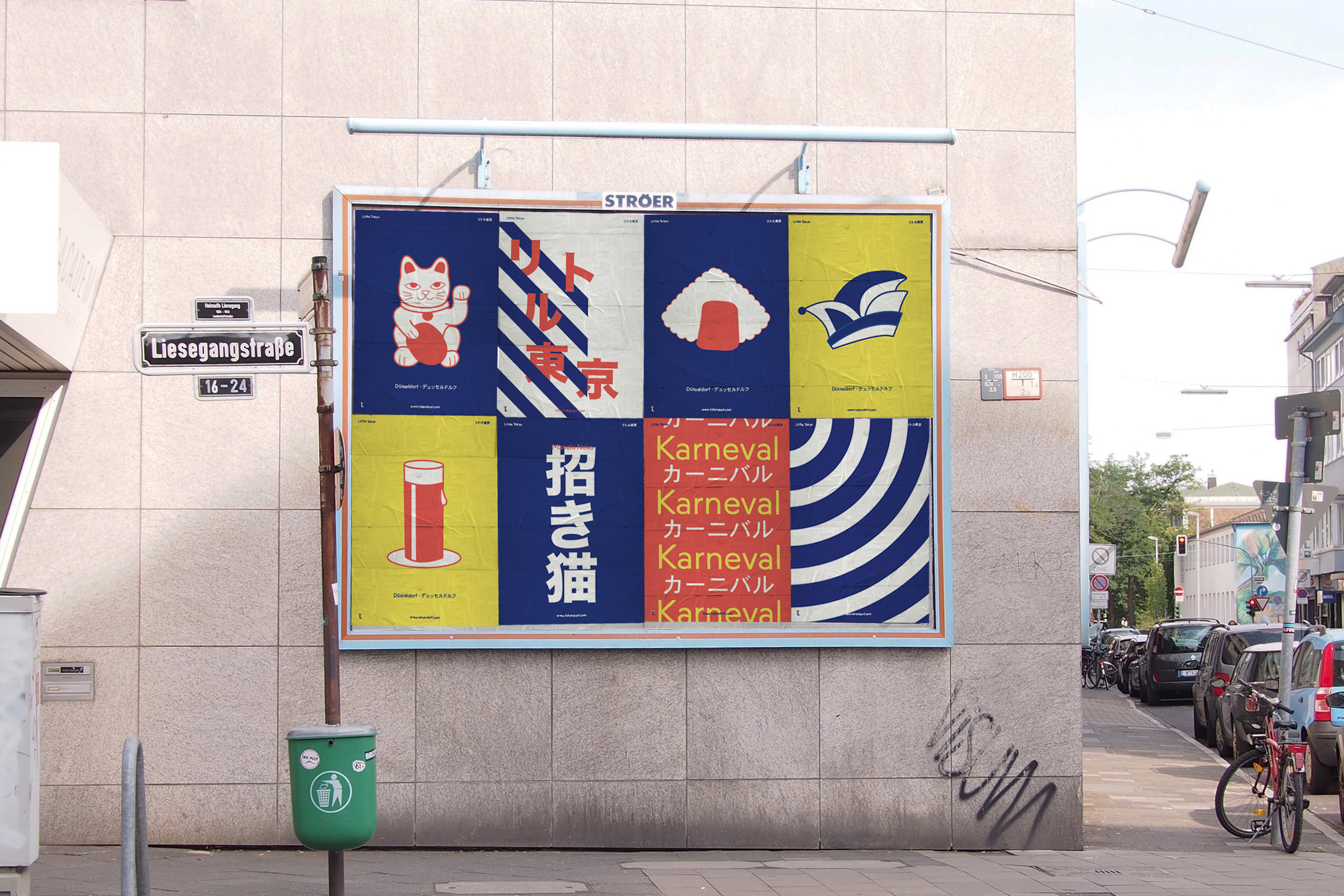 Werbeplakat, Little Tokyo, Düsseldorf, Altstadt, Winkekatze