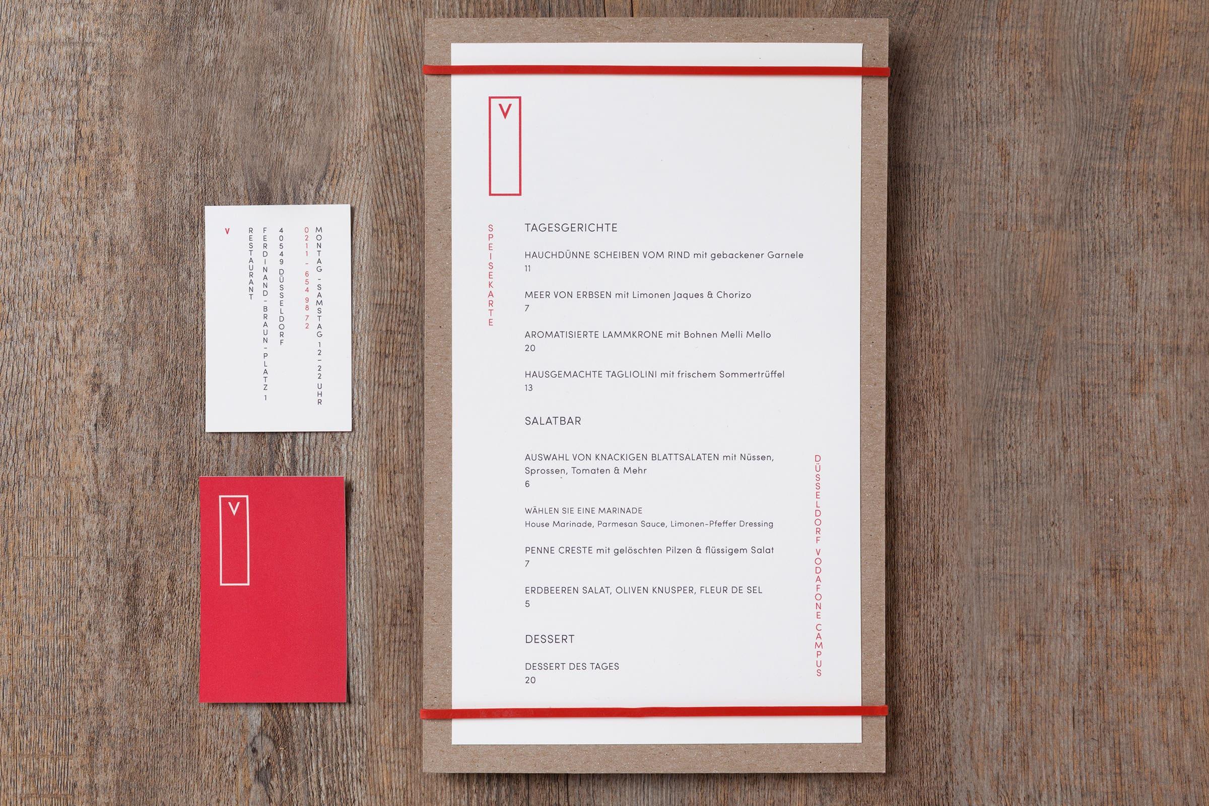 Speisekarte, Vodafone, Branding