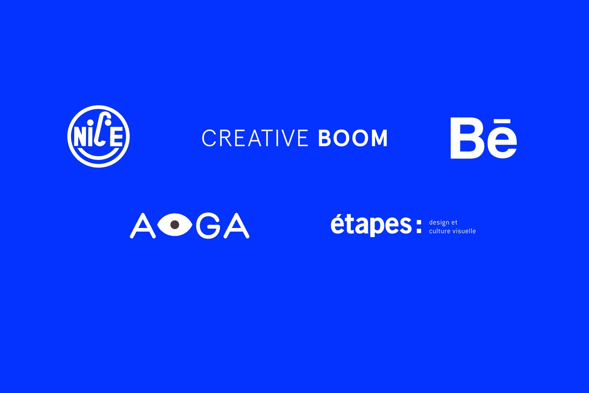 Aiga, etapes, Design, Blog, Press, It's nice that, Creative Boom, Behance, Badge