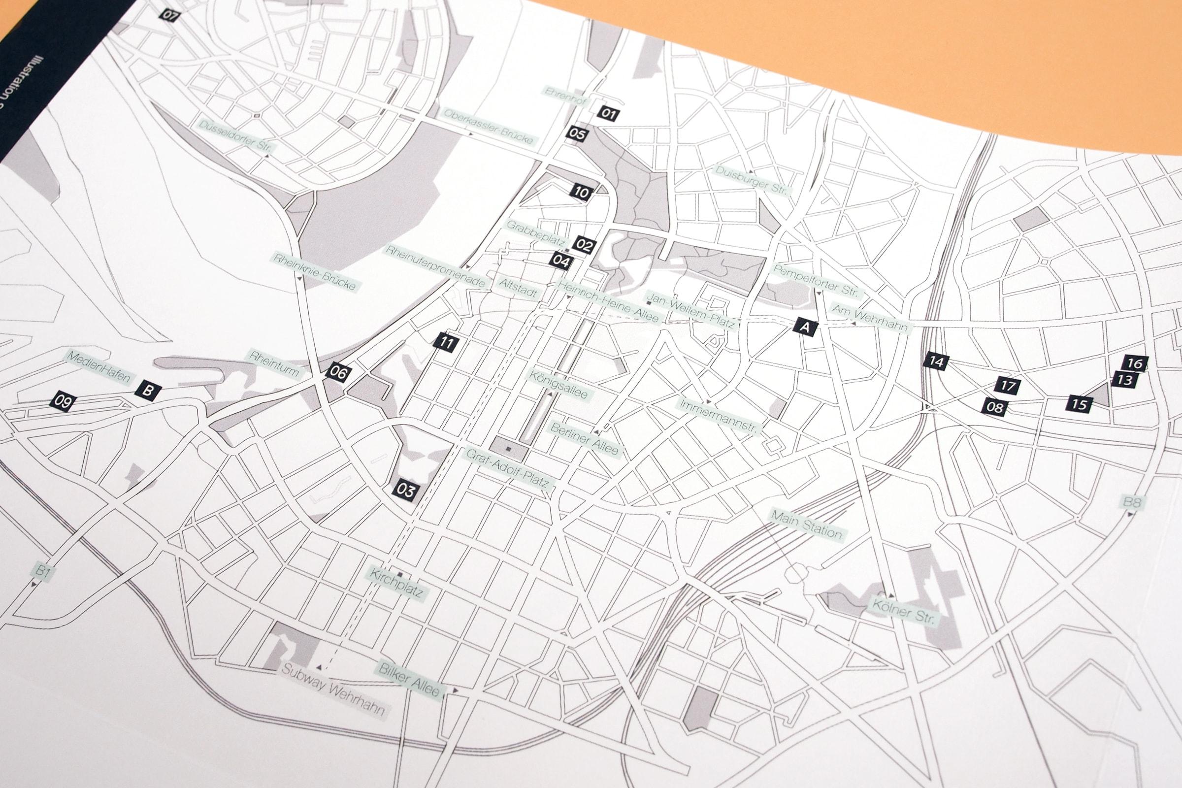 Düsseldorf, Museen, Gallerien, Karte