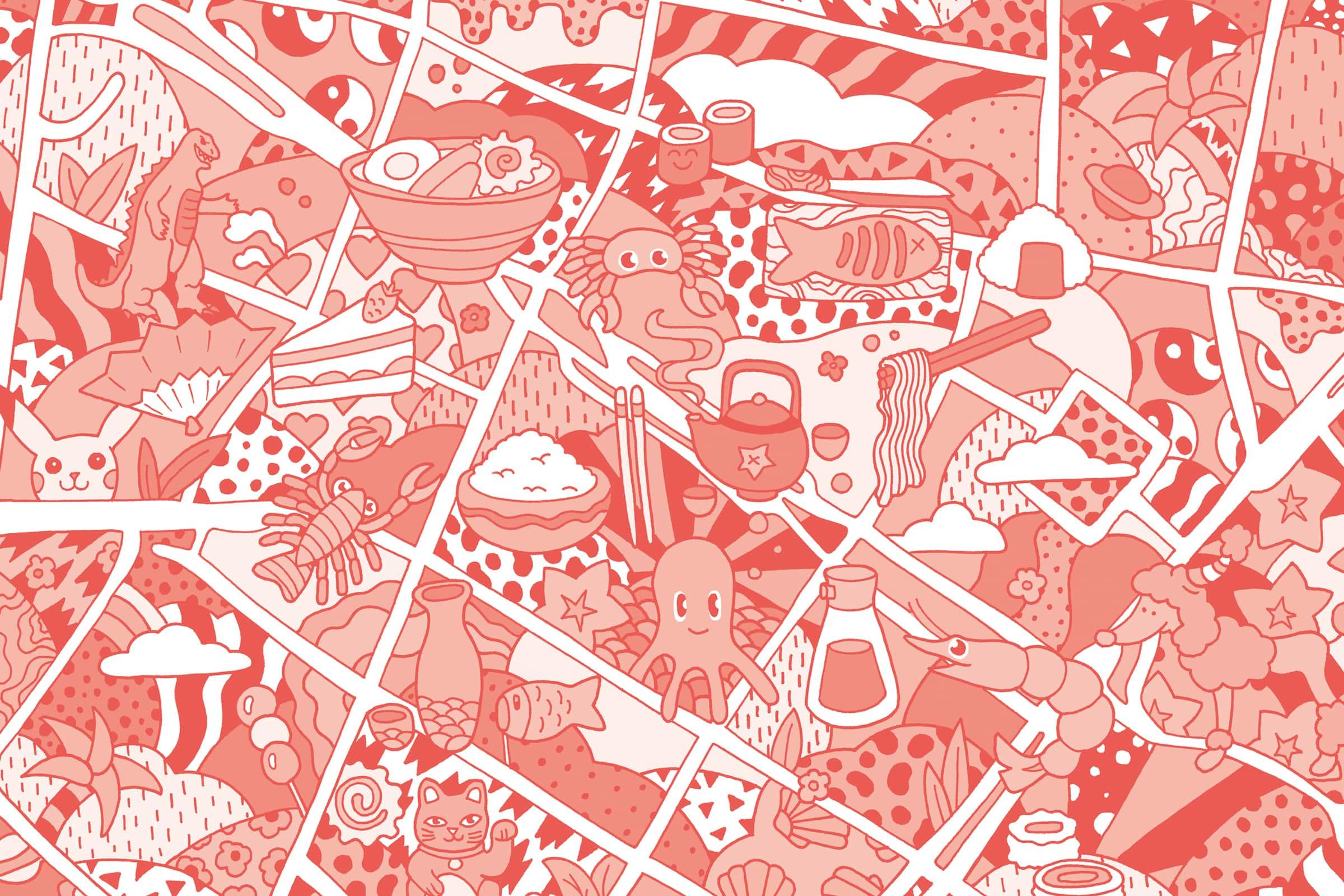 Illustration, Karte, Japanviertel, Düsseldorf