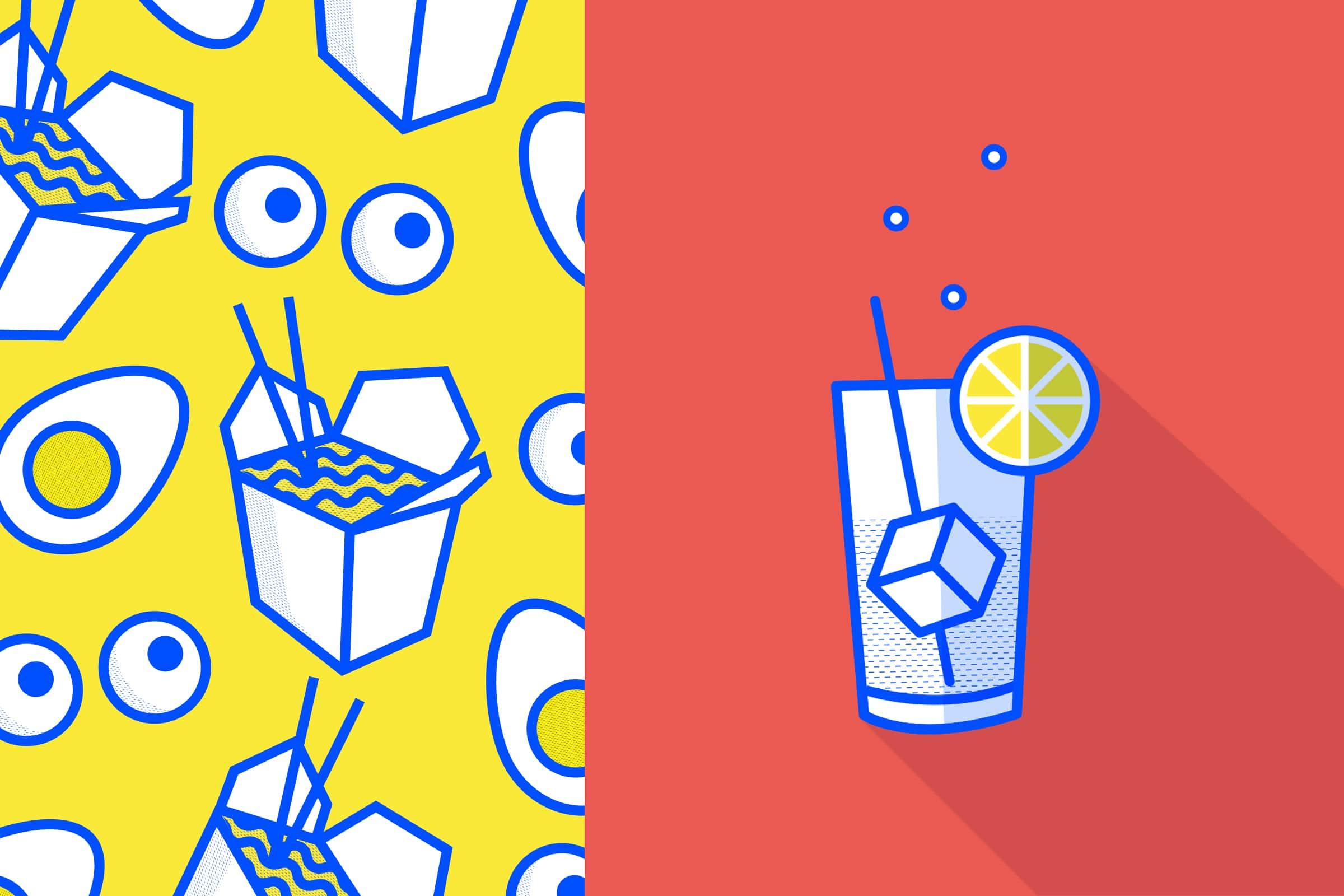 Illustration, Vektor, Gin Tonic, Muster