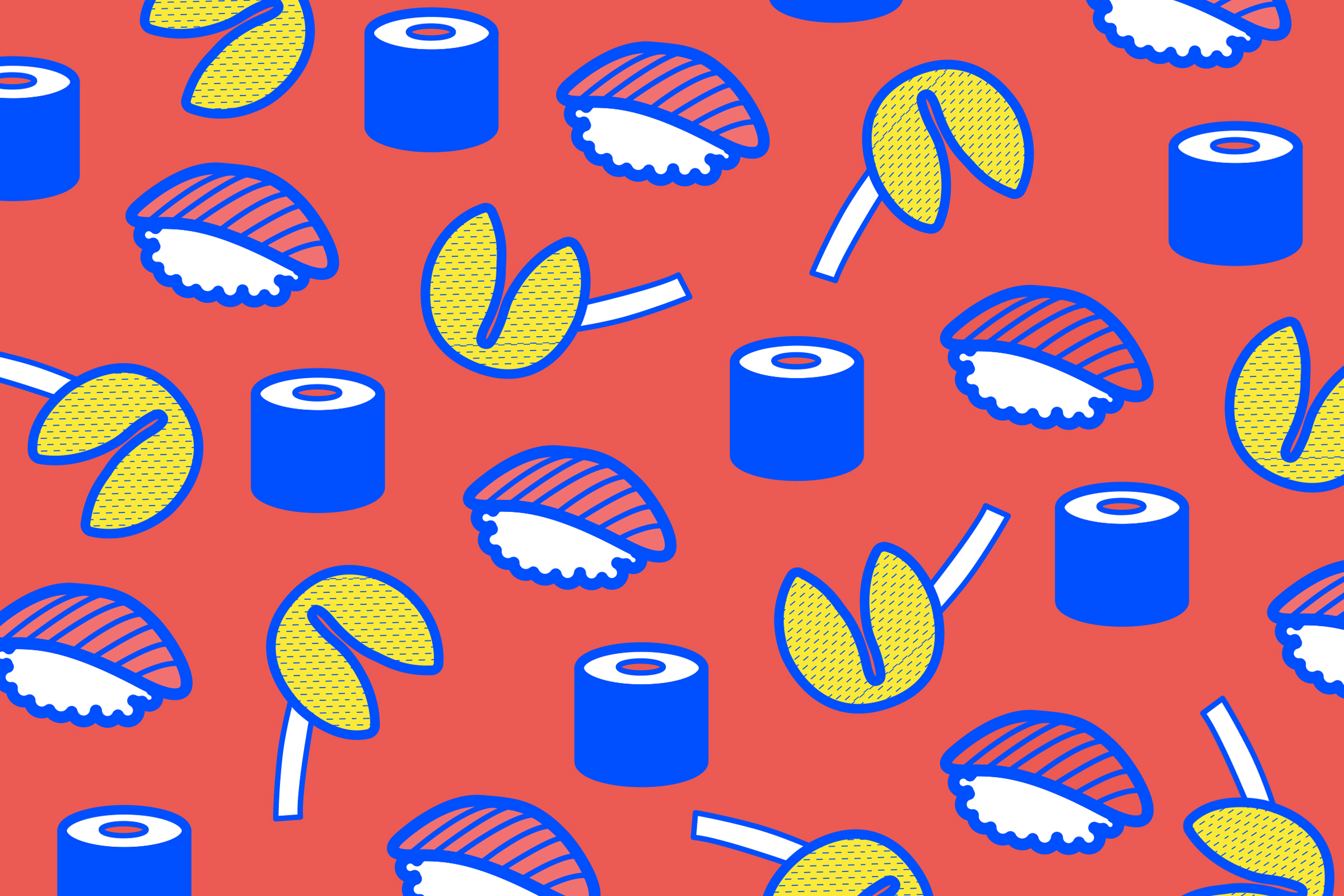 Illustration, Vektor, Sushi, Glückskeks