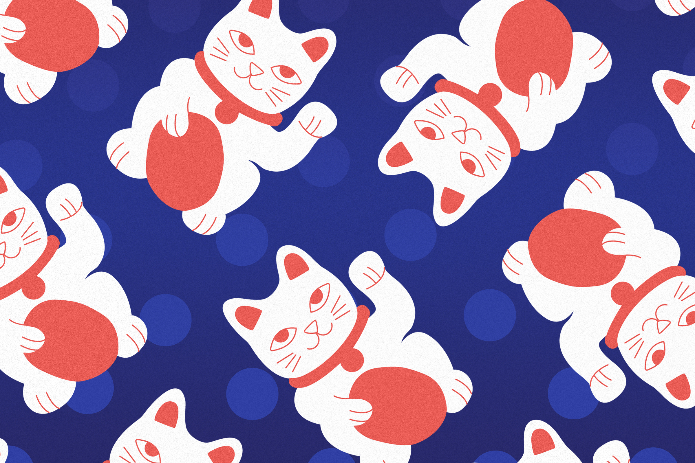Maneki Neko, Winkekatze, Muster, Illustration