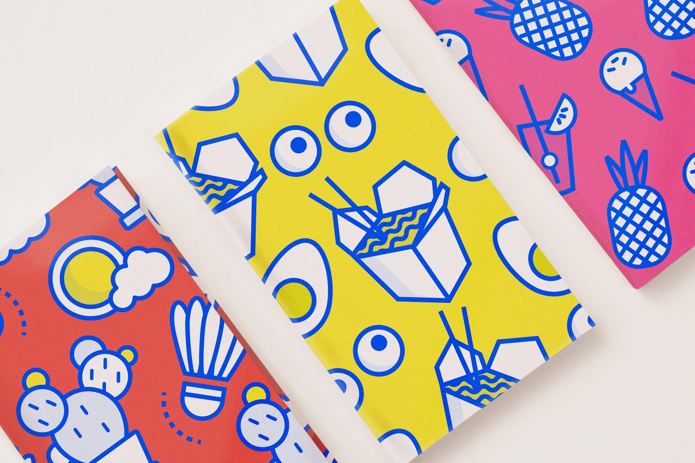 Notizbücher, Design, Muster, Farbe