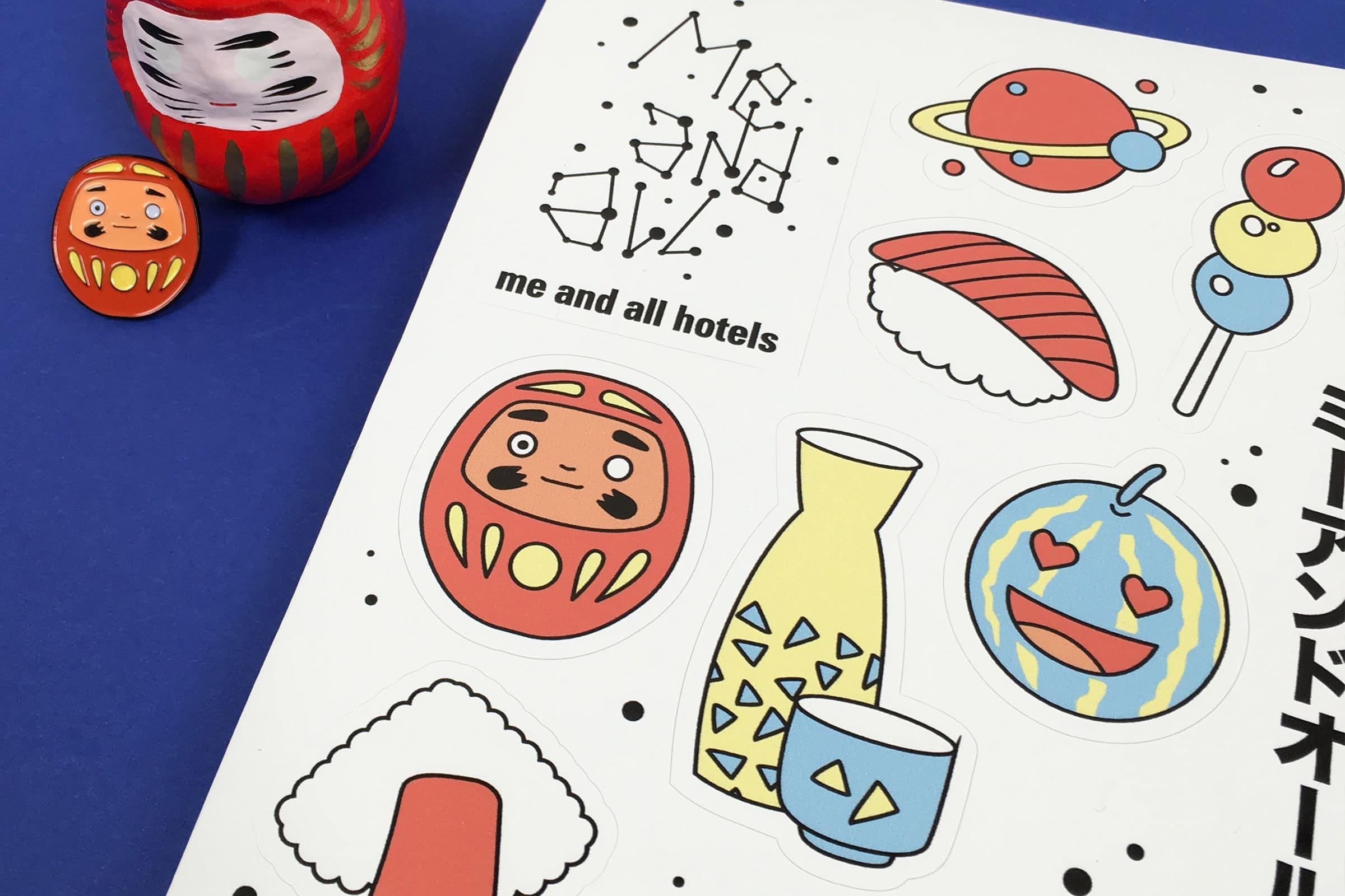 Japantag, Sticker Sheet, Daruma, me and all hotel, Düsseldorf, Merchandise, Design, Illustration