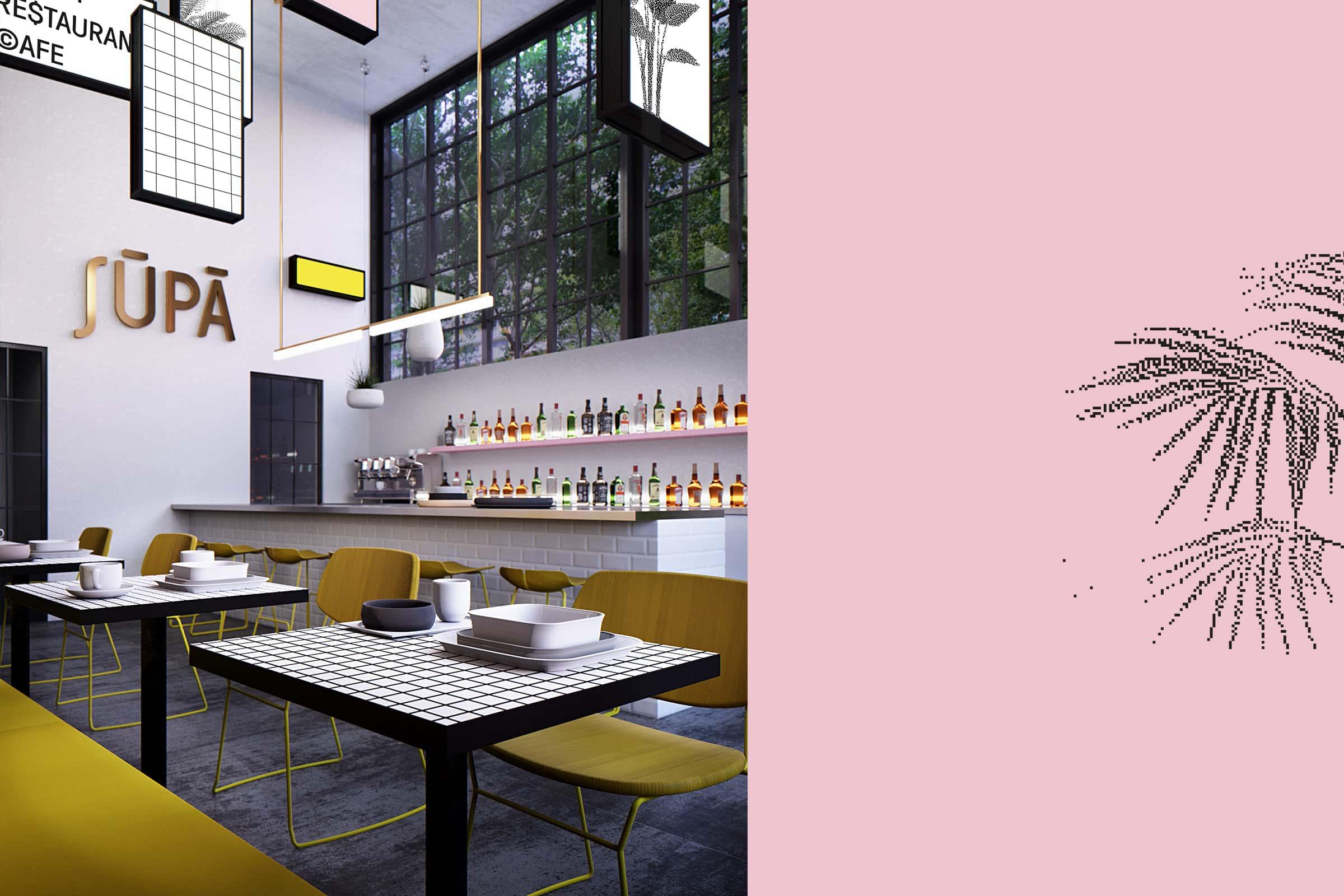 interior design, Restaurant, Bar, Cafe, Einrichtung, Leuchtboxen, Neon Schilder, Identity, Logo