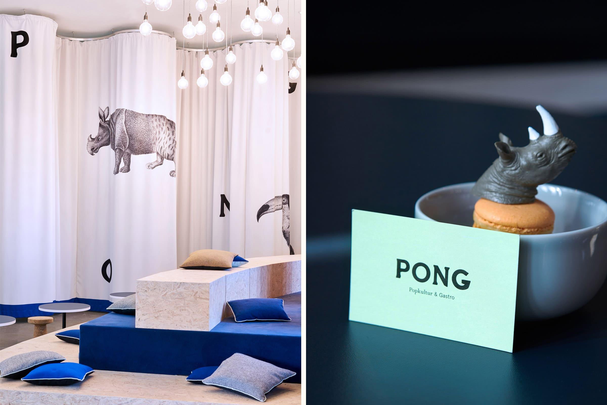 Identity Design, Interior Design, Restaurant Branding, Visitenkarte, Logo Design, Düsseldorf, NRW Forum, PONG NRW